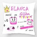 Personalizado Com Dados De Nascimento Almofada Aniversário Do Bebê Menina Crown Padrão Pillow Decorativa Caso Capa de Almofada Travesseiro Personalizar Presente