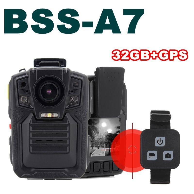 Free shipping!Ambarella A7 Police Body Worn Camera 32GB GPS 1296P Night Vision+Remote Control free shipping ambarella a2 1080p 30fps hd police camera police body worn camera action body police camera