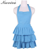 Neoviva Vintage Pleated Kitchen Apron for Perfect Wife Plus Size Susan Solid Sky Blue Ruffle Party Bar Cook Girl Aprons Vestidos