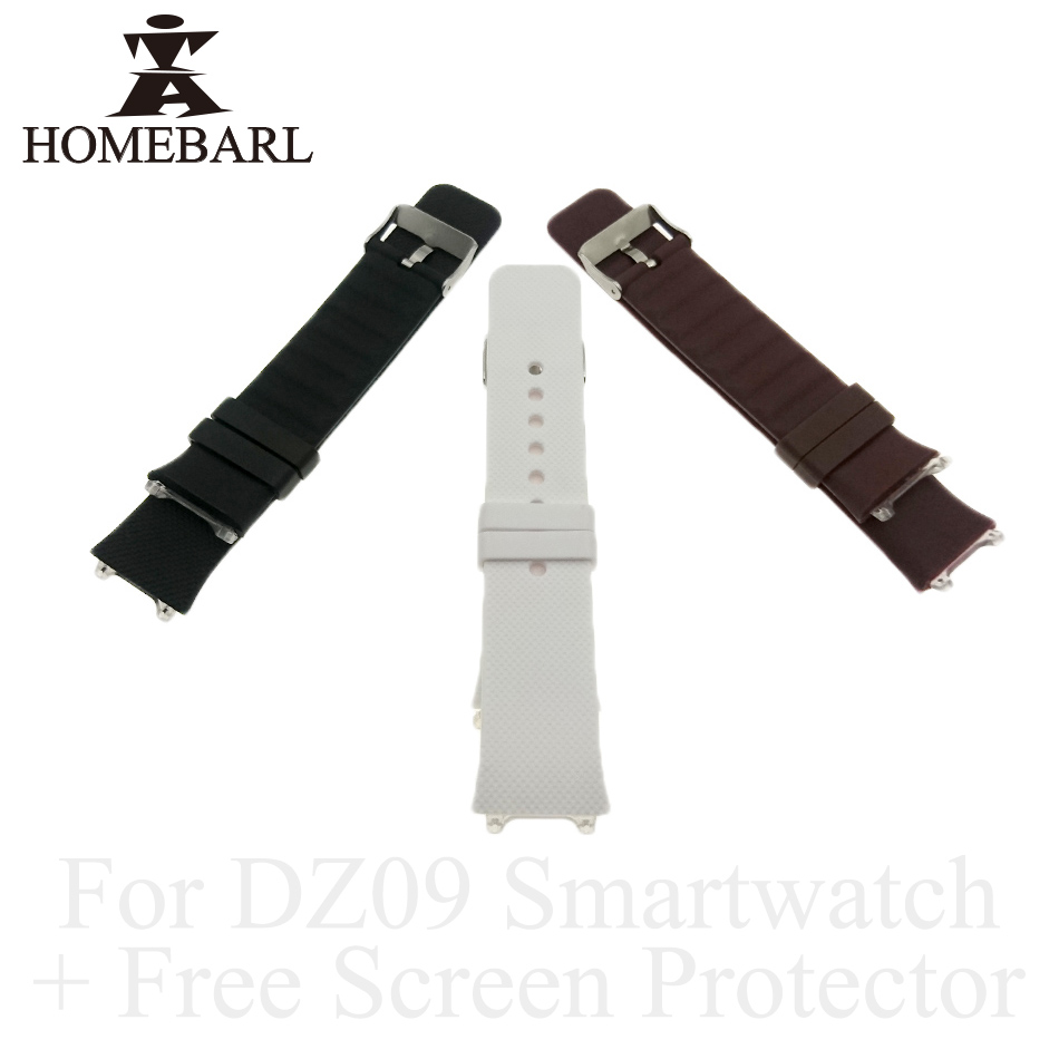 HOMEBARL Original DZ09 Smart Watch Strap DZ 09 Silicone Replacement Wrist Watch Band Strap Watchband Wristband +Free Screen Film