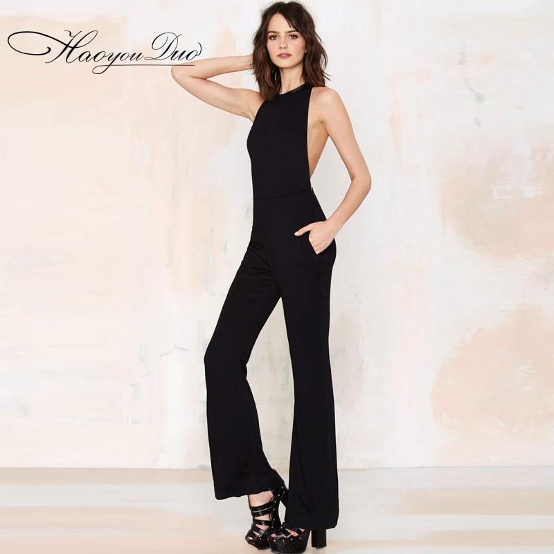 New Brand Elegant Jumpsuit For Women 2017 Black Sexy Jumpsuit Summer Womens Rompers Jumpsuit Bodysuit Long Playsuits