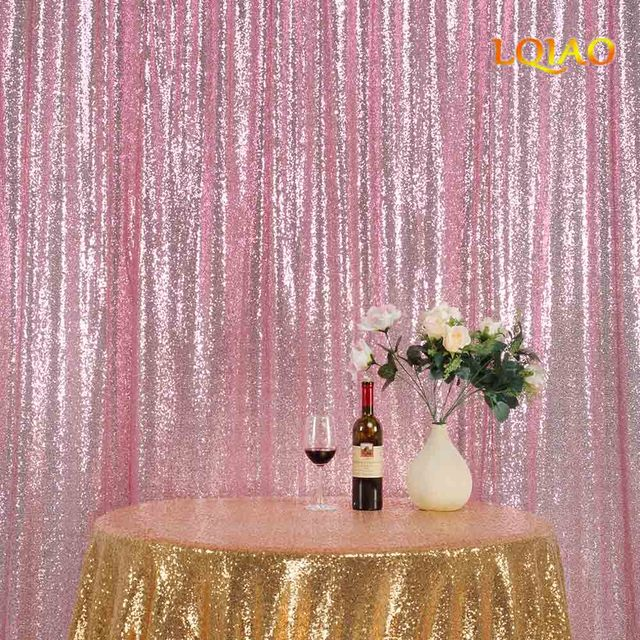 Wonderful 10*10FT Pink Gold Shimmer Sequin Fabric Backdrop Sequin Curtains  XV55