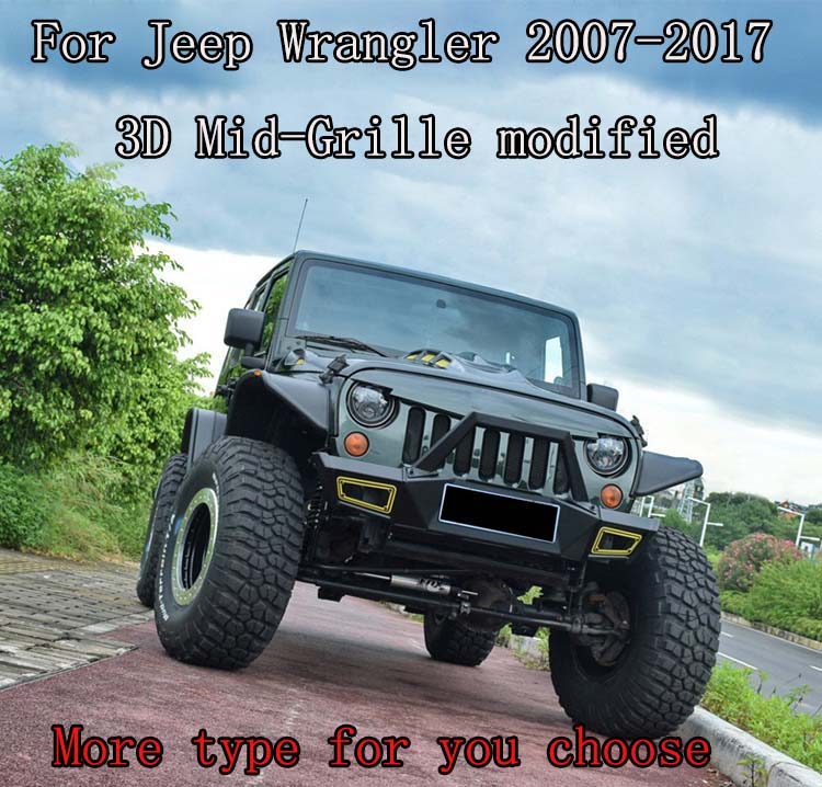 New Bolaxin Exterior Modified 3D ABS Front Face Gladiator Vader Matte Black Grille Grid Grill for Jeep Wrangler JK JKU 2007-2017 2007 jeep wrangler grill insert