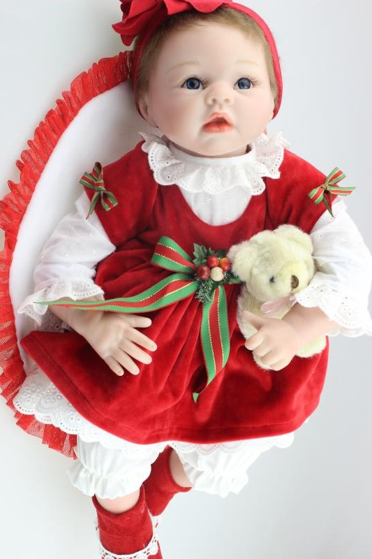55 cm Christmas dress silicone reborn girl doll dolls girls toys handmade 22 inch Toddler lifelike baby dolls toy new year gifts handmade ancient chinese dolls 1 6 bjd jointed doll empress zhao feiyan dolls girl toys birthday gifts
