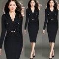 Hot Selling Women Elegant Fashion Plus Size S-4XL Office Work Dresses V-Neck Long sleeve Solid Stretch Knee-Length Pencil Dress