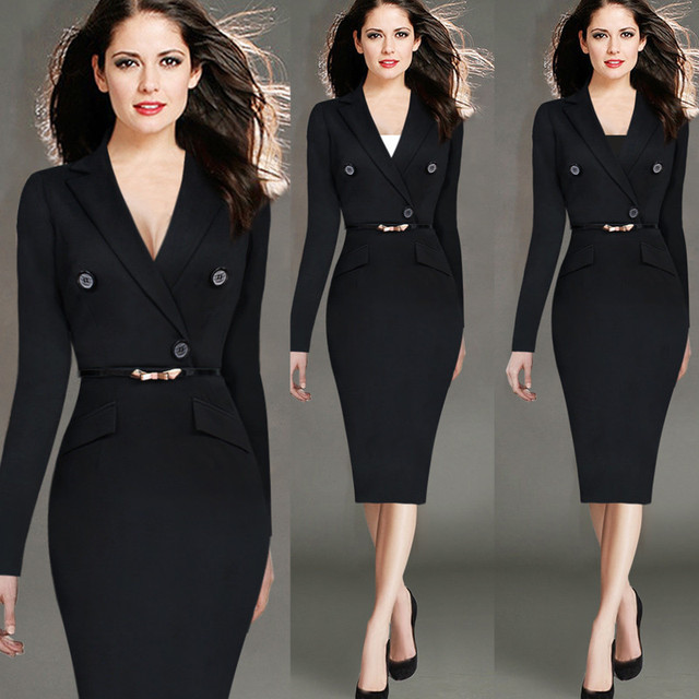 f10f3d925f Hot Selling Women Elegant Fashion Plus Size S-4XL Office Work Dresses  V-Neck Long sleeve Solid Stretch Knee-Length Pencil Dress