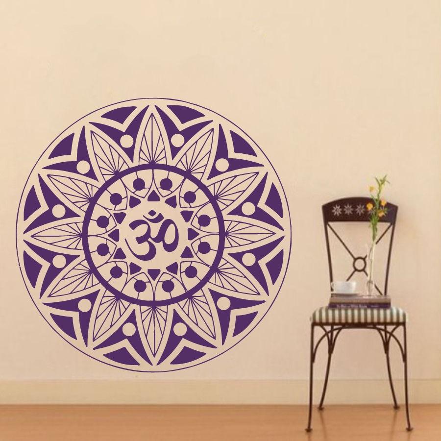 Pinturas Murais 큰 만다라 비닐 벽 데칼 요가 스티커 Menhdi 연꽃 큰 패턴 장식 옴 인도 벽화 홈 장식