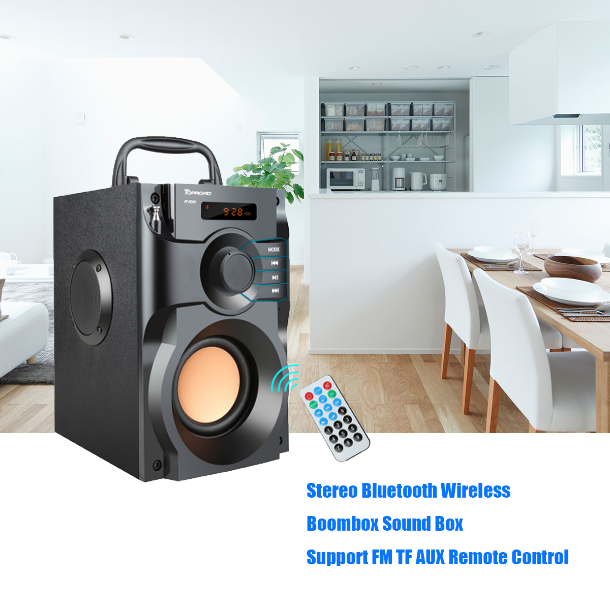 Wireless Bluetooth Speaker Stereo Subwoofer Bass Speakers Music Soundbox with Remote Control Support FM Radio TF AUX USB portable bluetooth speaker wireless alarm clock music stereo soundbox time display fm radio tf card altavoz speakers for phones