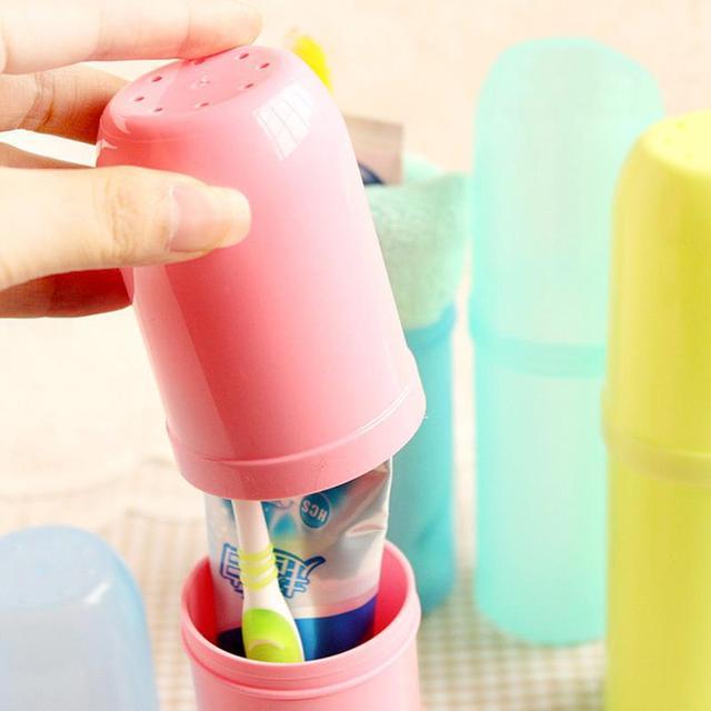 1 x Utility di colori Della Caramella Spazzolino Da Denti Holder Tooth Mug Dentifricio Bagno Tazza di Viaggio portatile tazza di stoccaggio Set di Accessori 4 Colori