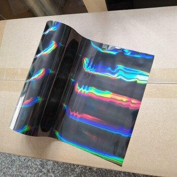 Presse chaude de modèle oblique noir de faisceau lumineux d'aluminium holographique de feuille d'estampillage chaude sur le papier ou la feuille de transfert en plastique