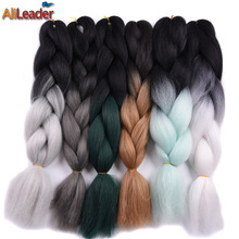 AliLeader Ombre Kanekalon Braiding Hair , 100G Three Tone  Crochet Twist Braids  Synthetic Hair Extensions 5Pcs/Lot 32 Colors