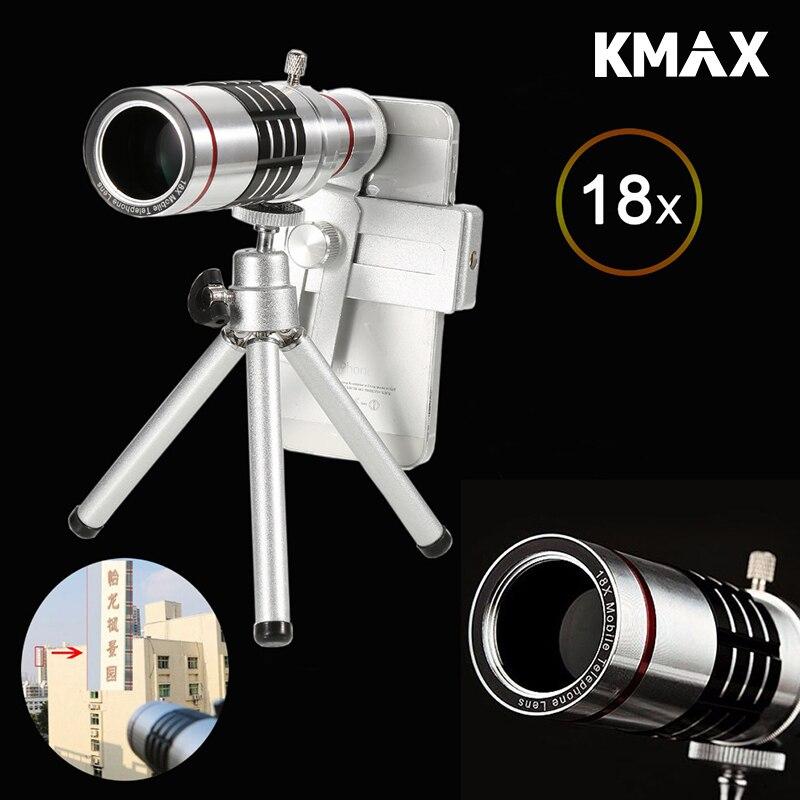 imágenes para Kmax 18x zoom óptico telescopio con mini trípode universal para samsung iphone xiaomi redmi note meizu teléfono móvil lentes