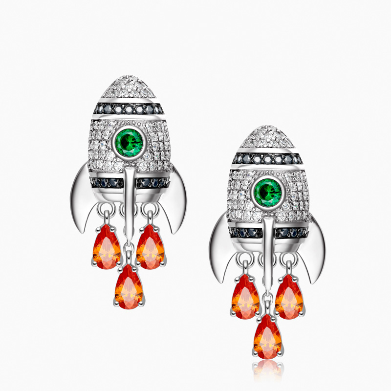 New Little Rocket Studs 925 Silver Needles Earrings Fashion Personality Female Charm Earrings Women Party Fine Jewelry