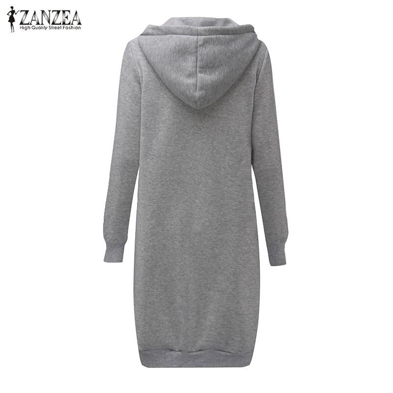 Oversized 2017 Autumn Women's Casual Long Hoodies Sweatshirt, Coat, Pockets, Zip Up, Outerwear Hooded Jacket 25