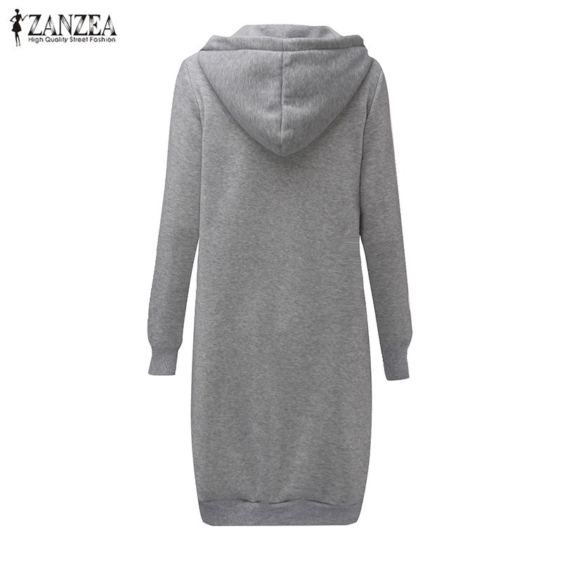 Oversized 2017 Autumn Women's Casual Long Hoodies Sweatshirt, Coat, Pockets, Zip Up, Outerwear Hooded Jacket 25
