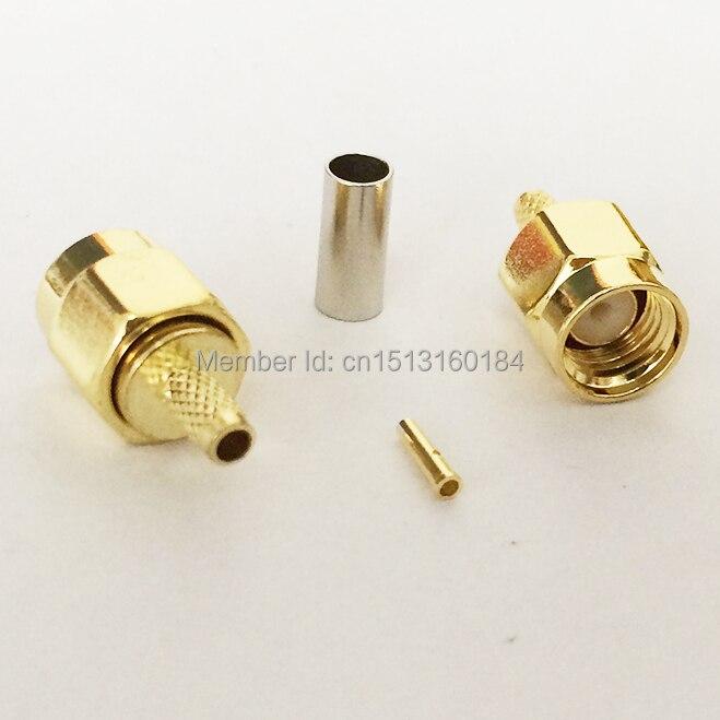 bilder für 1 stück RP-SMA Stecker RF Coax Modem Konverter Stecker Crimp RG316, RG174, LMR100 Gerade Vergoldet NEUE großhandel