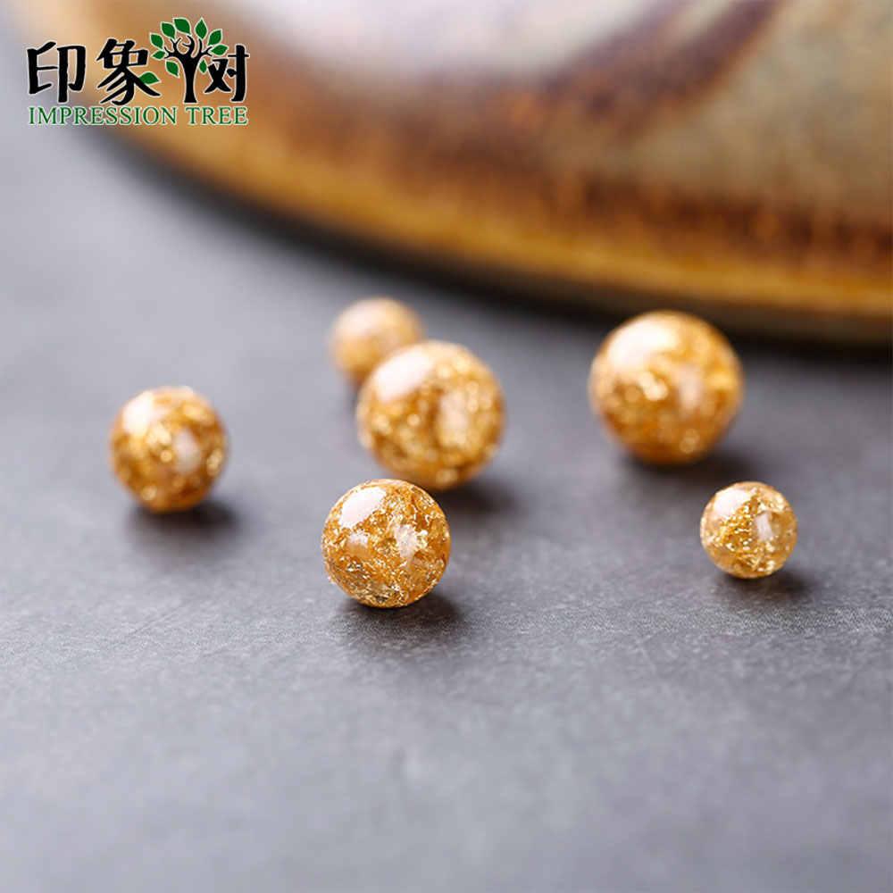 10pc שרף זהב רדיד 6/8/10mm Loose חרוז פיק גודל שקוף זהב לסכל חרוז Fit שרשרת צמיד בעבודת יד תכשיטי ביצוע 2708