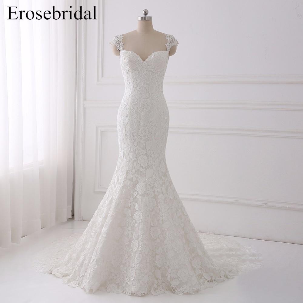 Sexy Illusion Wedding Dress 2018 Erosebridal A Line Bohemian Wedding Dresses Zipper Back Elegant Sweetheart Vestido