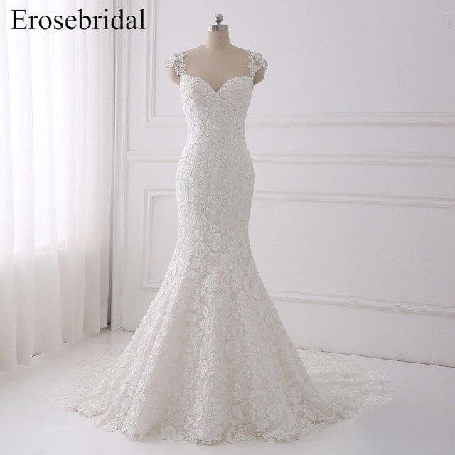 Seksi Illusion düğün elbisesi 2018 Erosebridal Bir Çizgi Bohemian düğün elbisesi es Fermuar Geri Zarif Sevgiliye Vestido De Noiva