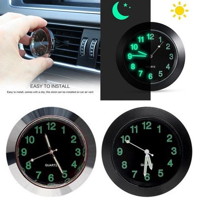 車発光ゲージ時計クリップ自動車エアベントクォーツ時計美しいと実用的な電子時計スタイリングベンツ bmw