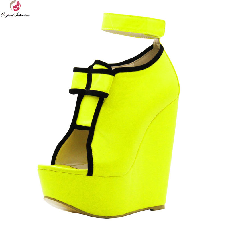 Original Intention Super Sexy Women Sandals Platform Open Toe Wedges Sandals Fashion Blue Yellow Shoes Woman Plus US Size 4-10.5 phyanic 2017 gladiator sandals gold silver shoes woman summer platform wedges glitters creepers casual women shoes phy3323