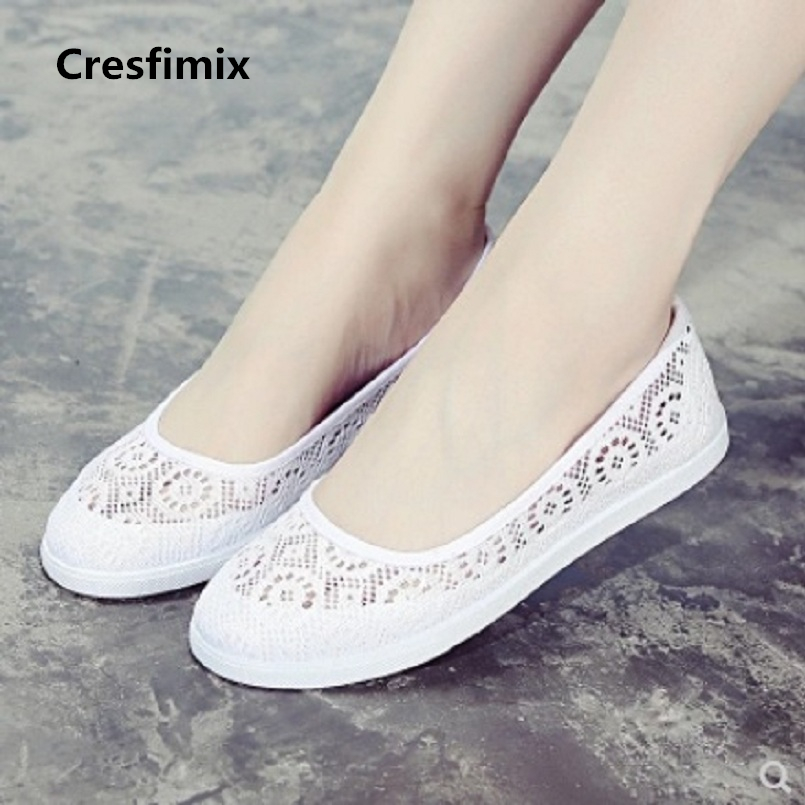 где купить Cresfimix women fashion white nurse work breathable flat shoes female cool comfortable slip on flats lady casual shoes a609 по лучшей цене