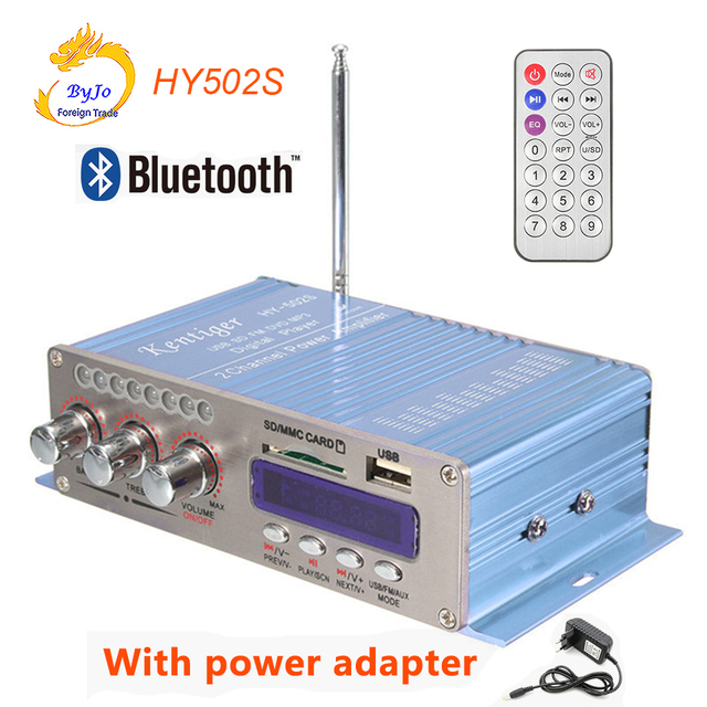 HY502S Bluetooth Car Power Amplifier Stereo Sound Mode HiFi 2 Channel Mini FM Audio + MP3 Speaker Music Player HY-502S