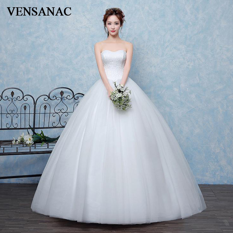 VENSANAC 2018 Strapless Lace Embroidery Ball Gown Wedding