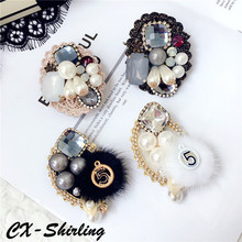 CX-Shirling Mix Styles Fashion Pearl Letter 5 Brooch Antique Luxurious Brooches Handmade Quality Pendant Pin Scarf