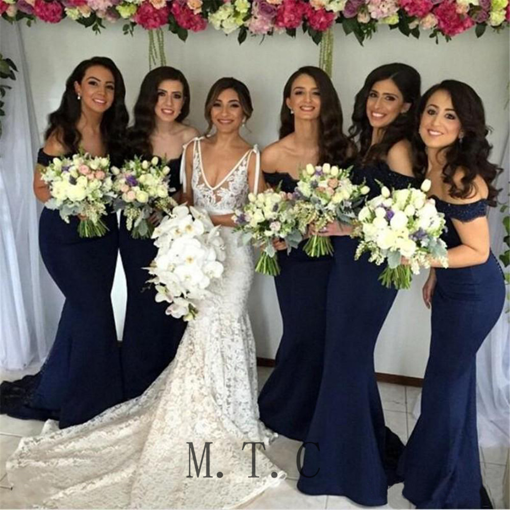 Hot Selling Navy Blue   Bridesmaid     Dresses   2019 High Quality Lace Appliques Elastic Satin Mermaid Women Wedding Party   Dress   Cheap