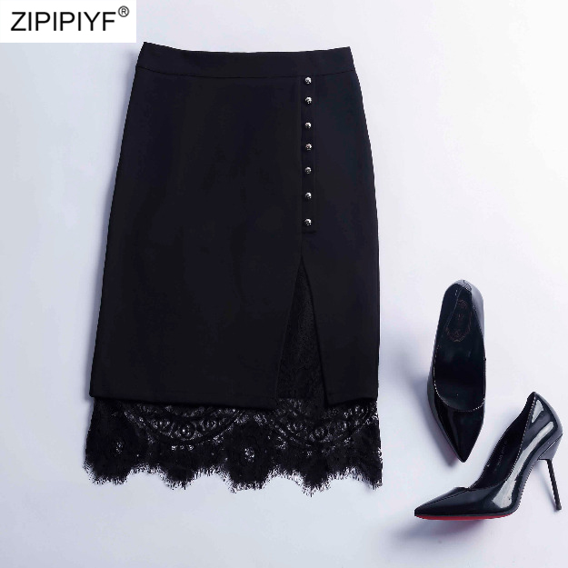 High Quality Women Lace Skirts 2018 Summer Fashion Casual Retro Solid Color High Waist Above Knee
