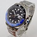 Часы BLIGER с циферблатом 40 мм  черные  Nologo  керамический ободок  светящиеся марки  функция Sapphire  gmt  автоматические мужские часы