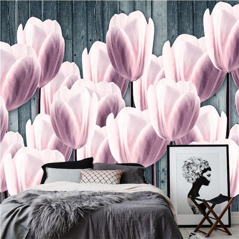 European Style Wallpaper Tulip Custom 3d Wallpaper Walls Modern Photo Wall Mural for Study Living Room Kid's Room Restaurant junran america style vintage nostalgic wood grain photo pictures wallpaper in special words digit wallpaper for living room