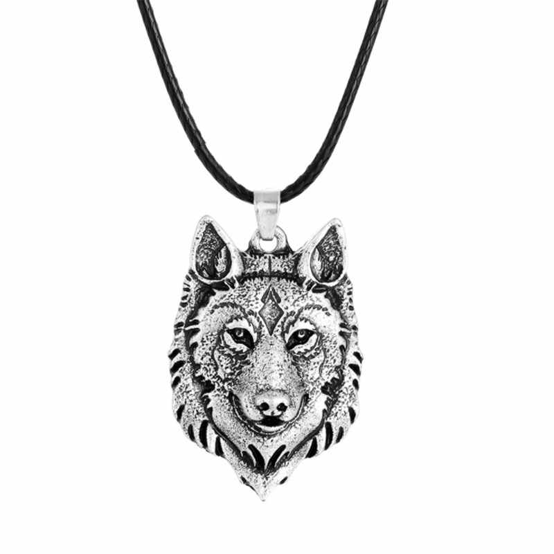 WWLB 1pcs Wolf Head Necklace Pendant Animal Power Norse Viking Amulet Necklaces Pendants Men Women Gift Jewelry