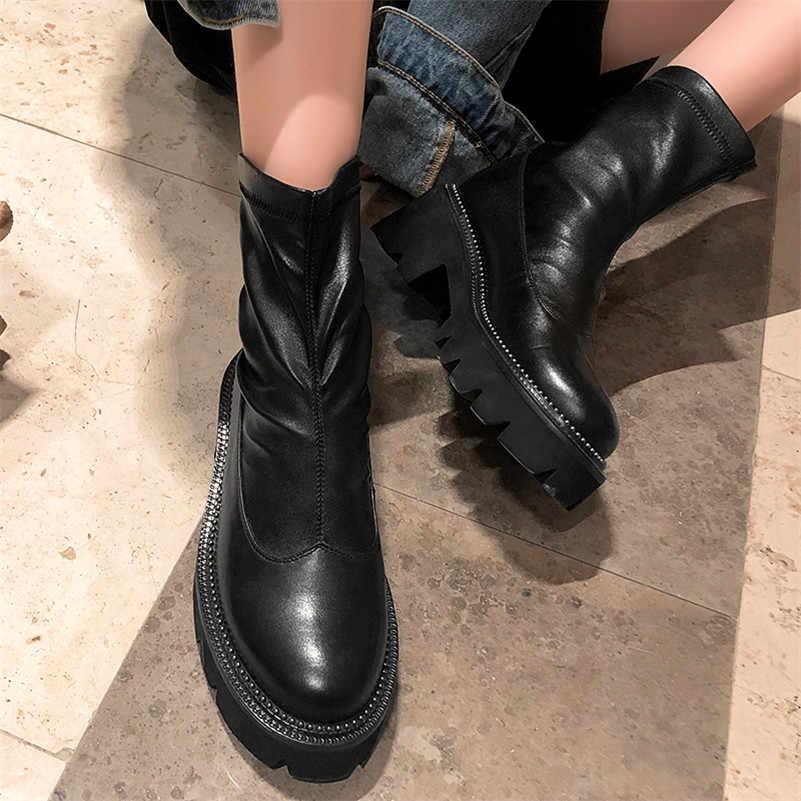 FEDONAS คลาสสิกรอบ Toe Platform รองเท้าบูทของแท้หนังผู้หญิงรองเท้าข้อเท้าหญิงขนาดใหญ่เชลซีรองเท้าสั้นรองเท้า Party รองเท้าผู้หญิง