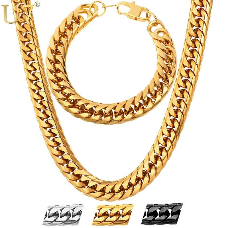 U7 Stainless Steel statement Necklace And Bracelet Set Wholesale Gold Color Hip Hop Chunky Big Chain For Men Jewelry Set S747