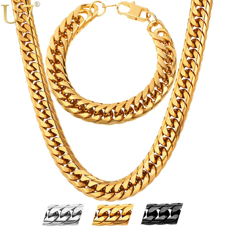 U7 Stainless Steel statement Necklace And Bracelet Set Wholesale Gold Color Hip Hop Chunky Big Chain For Men Jewelry Set S747 thick gold chain set wholesale men s jewelry white black crystal buckle necklace bracelet stainless steel jewelry sets
