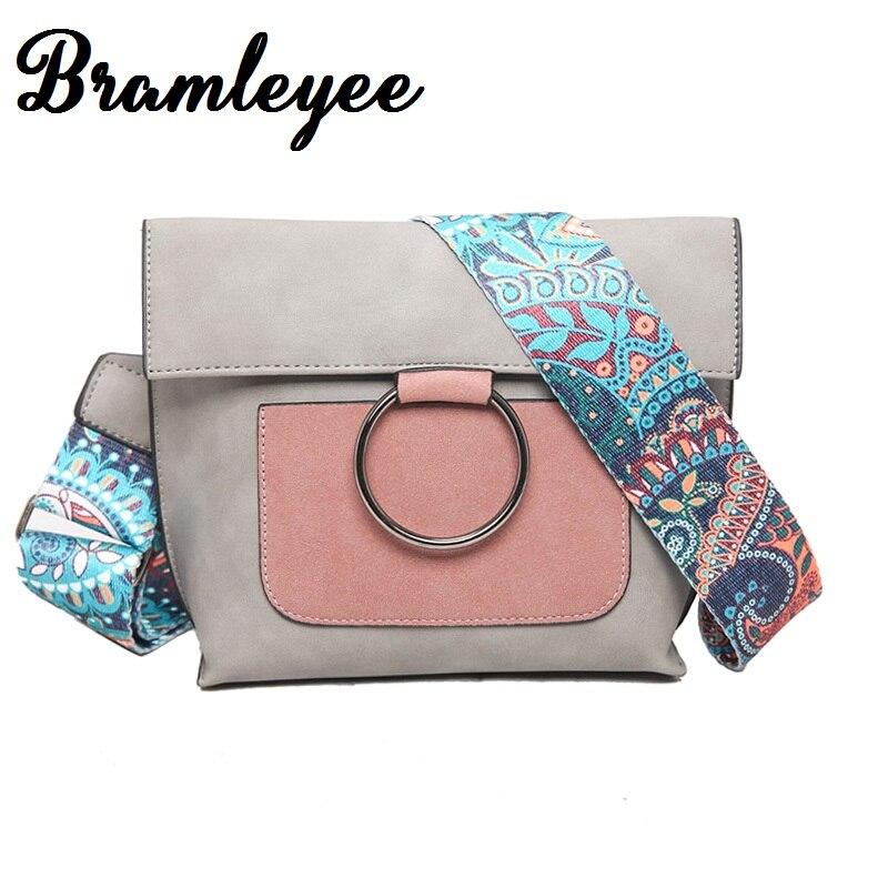 Women Scrub Leather Design National Wind Crossbody Bag Girls With Ring Colorful Strap Shoulder Bag Female