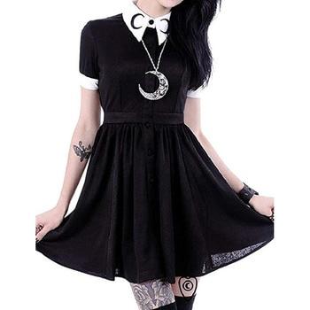 hot dress Fashion Women Moon Print Gothic Punk Slim Fit Black Button Down Short Sleeve  beach  Elegant  summer Fashion Party#7