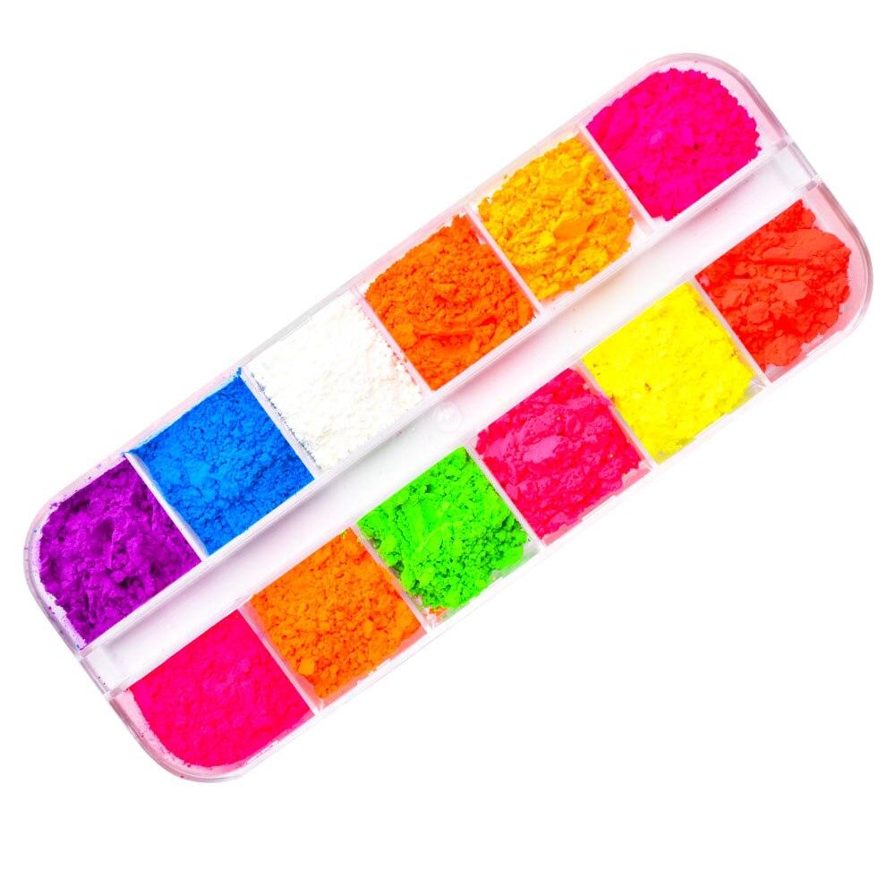 Image 4 - 12 Colors /Set Neon Pigments For Nails Powder Glitter Fluorescent Dust Gradient Pigments Manicure Neon PowderFor Nails SF3080-in Nail Glitter from Beauty & Health