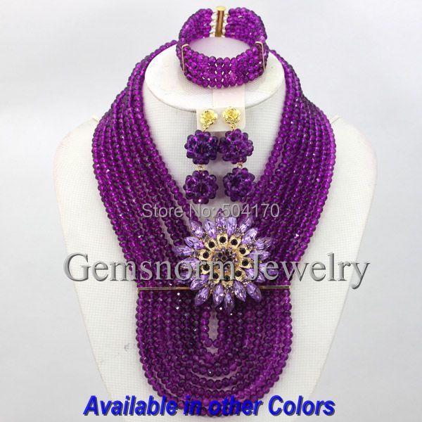 Encantos Borgoña Nigeriano Boda Perlas Africanas Joyería Conjunto Púrpura GS261 Nupcial Crystal Jewelry Set Envío libre
