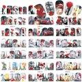 1 Folhas Etiqueta Do Prego Da Arte Do Prego de Transferência Da Água do Decalque 12 Projetos Cor Vermelha Beleza Romântica BN373-384 Projetos para a Arte Do Prego