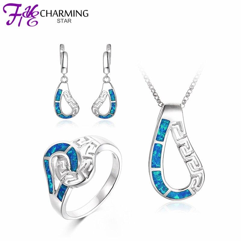 Drop Designs Fire Blue OPAL Jewelry Sets Pendants Earrings Rings 925 Sterling Silver Fine women Party Gift WH65 - GW Store store
