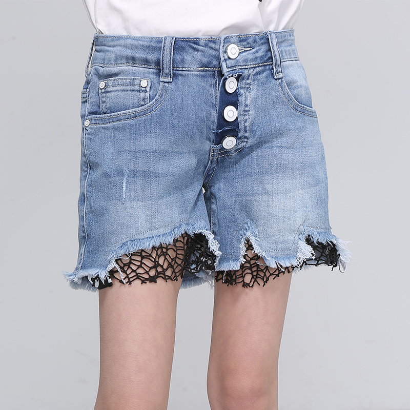 Kids Straight Shorts Ripped Mesh Patchwork Girls Denim Shorts Button Fly Burr Mid Children Clothes Size 9 10 11 12 13 14 Years