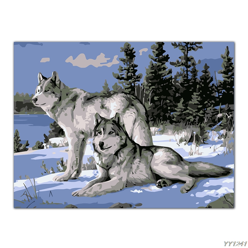 No Frame Wolf Animals DIY Painting By Numbers Kits Paint On Canvas Acrylic Coloring Painitng By Numbers For Home Decor Artwork