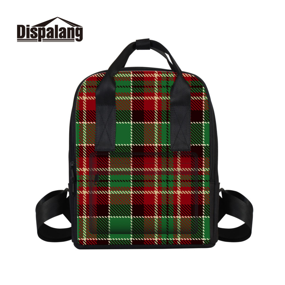 Dispalang Fashion Designer Women Backpacks Striped Plaid Print School Bags For Teenagers Girls Female Travel Bag