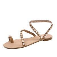 Nouveau Style Femmes De Mode Solide Couleur Chaîne Perle Sandales Dames Bout rond Talon Plat Chaussures de Plage Féminin charme Non-slip Sandales S