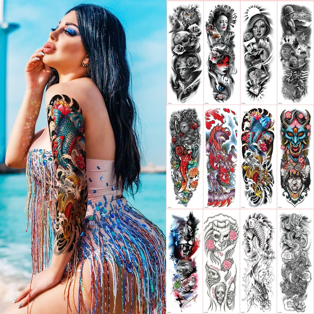 Waterproof Temporary Tattoos Sleeve For Women Men Skull Roses Tattoos Oversleeve Large Arm Sleeve Tattoo Sexy Tattoo Sticker Boy