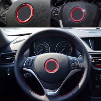 DWCX Gorgeous Red Car Steering Wheel Center Decoration Ring Cover For BMW 1 3 4 5 7 Series M3 M5 GT3 GT5 X1 X3 X5 X6 f10 E70 E81 image