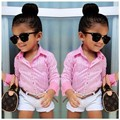 2016 Girls Summer Clothes Suit shirt + shorts + belt 3pcs / set pink striped shirt fashion suit Kids suit Free shipping